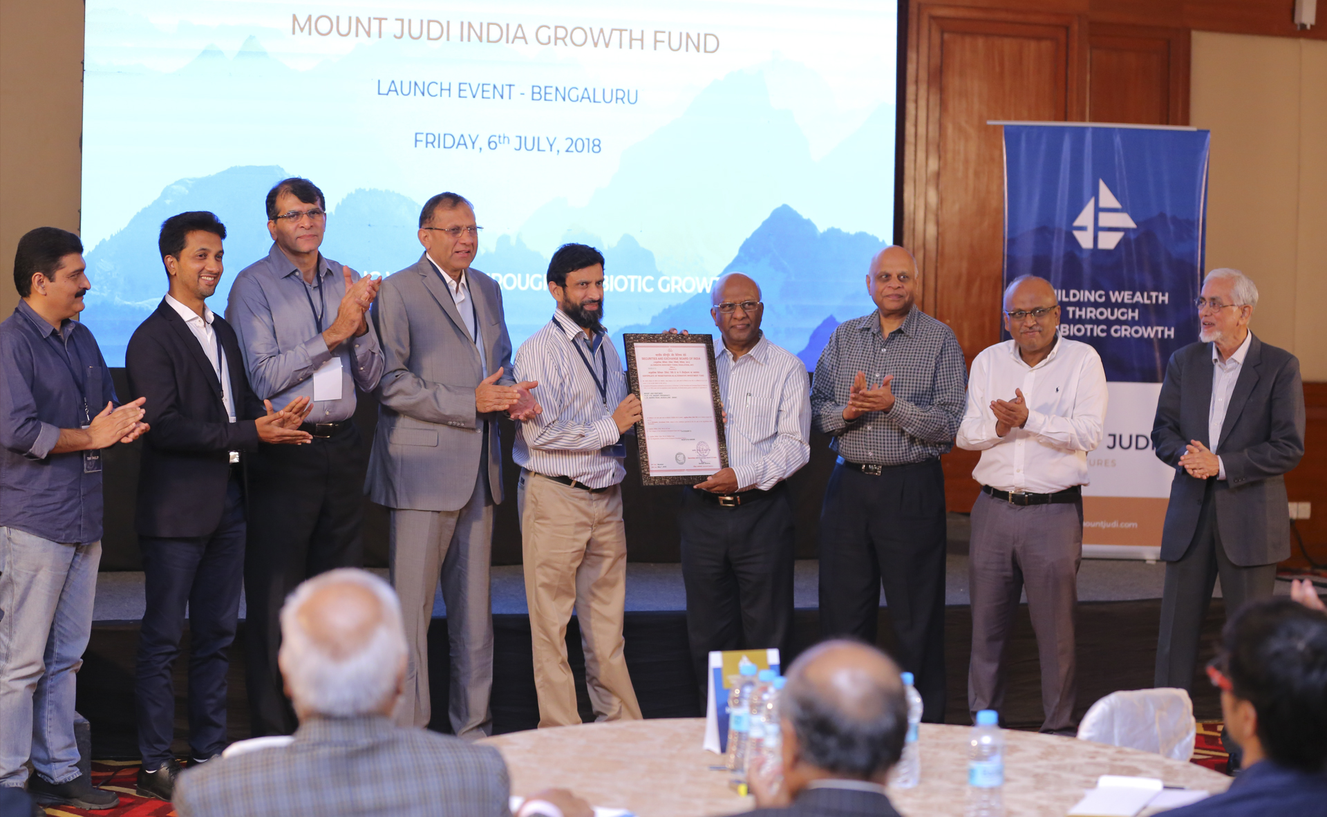 Dr. Sridhar Mitta, Mr. V. Namasivayam and Mr. Mustafa Wajid inaugurating Mount Judi India Growth Fund by handing over SEBI license to General Partners of Mount Judi Ventures